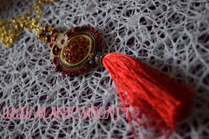 Collana Red Christmas soutache con Nappina Siciliana